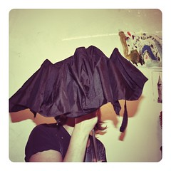 Black Umbrella (☼ EkkyP ☼) Tags: portrait selfportrait black me umbrella self myself emma august superstition wah 2012 selfie badluck putup 365days 365104 snapseed hereios