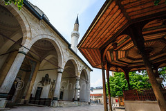 Bosnia-110522-063 (Kelly Cheng) Tags: travel color colour building heritage tourism motif horizontal architecture clouds design daylight colorful europe day pattern arch cloudy outdoor sarajevo minaret bosnia muslim islam religion culture vivid nobody nopeople mosque pavilion colourful islamic bosniaandherzegovina traveldestinations