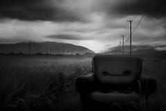 gone west (StephenCairns) Tags: blackandwhite bw mountains japan canon evening chair powerlines  nocrop   ricefields  gifu  ricepaddy stormclouds rainclouds   motosu       stephencairns  canon5dmarkii