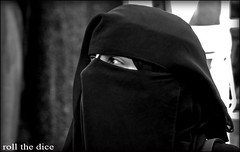 `690 (roll the dice) Tags: uk portrait blackandwhite woman black london art classic girl westminster fashion mystery shopping dark nose eyes veiled veil mask candid muslim islam hijab strangers culture streetphotography creepy hidden arab oil unknown niqab oxfordstreet westend marblearch unaware primark londonist burka chador