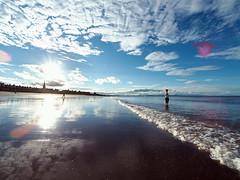 Portobello (Lee Kindness) Tags: blue sea sky sun white reflection beach water clouds scotland seaside sand edinburgh waves wideangle panasonic spire lensflare portobello firthofforth joppa zd l10 714mm
