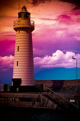 Light of the sea - Donaghadee Lighthouse (C.M_Photography) Tags: pink blue light red sky lighthouse yellow pier vibrant northernireland colourful donaghadee pentaxart