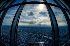 A Sunny Day during the Rainy Season (hidesax) Tags: sun japan skyline clouds skyscraper river observation tokyo nikon cityscape afternoon deck sumida  sigma15mmf28exdgdiagonalfisheye skytree tokyoskytree hidesax d800e nikond800e asunnydayduringtherainyseason