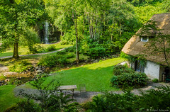 Thatched Cottage & Waterfall (Fergal Gleeson) Tags: landscape nature outdoors scenic green trees stream water summer thatched cottage waterfall rocks countryside gardens kilkenny ireland