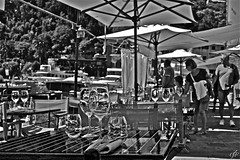 """Lunch Time in Portofino"" (giannipaoloziliani) Tags: giannipaoloziliani luxury yacht reflexiones streetphotography tourists vistamare people nikond3200 nikon monocromatico bicchieri glass seaview sea restaurant lunch italia monochrome blackandwhite italy portofino liguria"
