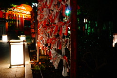 asian patterns (Hal Skygene) Tags: night nightphotography asia asian japan light dark glow suburb traditional green red shrine oriental east eastern japanese culture bamboo building ancient