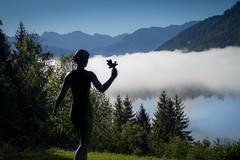 Beauty (jan.scho) Tags: see wolken himmel statue nebel morgen wiese schoenheit alpen berge alpsee europecenter buehl