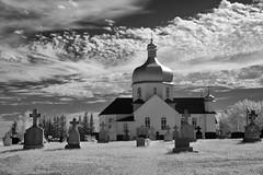 St. Mary's Ukrainian Catholic Church [Explored] (ingridvg) Tags: ukranian blackwhite infrared tombstones graveyard waugh alberta blackandwhite monochrome architecture church ukrainian heritage