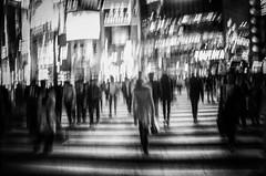 Tokyo (Brendan  S) Tags: tokyo brendans brendanstokyo brendansapplebrendansphotography thingstodointokyo tokyoatnight shibuya shibuyascramblecrossing blackandwhite blur blurwillsavetheworld