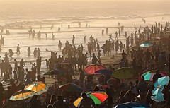 Santa Monica Beach (Robert Borden) Tags: california socal southwest santamonica santamonicabeach santamonicapier beach pier water ocean sea sunset sun people swimming umbrellas colors