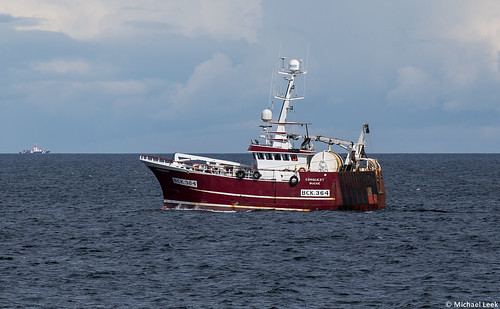Twin rig trawler Conquest BCK 364; off Findochty, Moray, Scotland