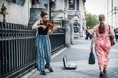Street Music (jonron239) Tags: london girl woman summer southkensington museums passing playing violin summerdress breezepants tanktop longhair leatherbag trainers