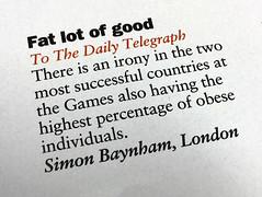 Fat Stat (Brett Jordan) Tags: brett brettjordan theweek simonbaynham dailytelegraph olympicgames obesity paradox httpx1brettstuffblogspotcom
