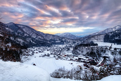 Sunset Blast (arcreyes [-ratamahatta-]) Tags: blue winter sun white snow mountains ice japan clouds landscape buried  lightup toyama gifu   hdr shirakawago gokayama gassho 3xp      gifuprefecture onodistrict agustinrafaelreyes