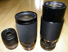 Lens Size Comparison. Taken on Kodak Z1015 IS 28-420mm. (Sang3eta) Tags: canon lens tokina 300mm size micro f2 f56 length comparison 630 f8 f28 f4 fd 70210mm 210mm 43rds f175 60300mm szx