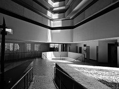 hyatt lobby east b/w (Demetrios Lyras) Tags: windows bw sunlight building architecture blackwhite shadows east lobby balconies noma sfist hyattregency sanfranciscocausa