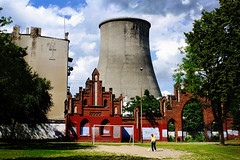 Soccer practise with some beer and a cooling tower (the aurelian) Tags: park trees summer cemetery clouds digital gate soccer player finepix pitch fujifilm brickwork coolingtower lodz d x10 fujifilmfinepixx10