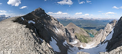 Mt. Niblock Panorama (Marc Shandro) Tags: summer panorama lake canada nature clouds landscape view bright outdoor scenic sunny bluesky alpine alberta banff rockymountains rugged freshwater banffnationalpark environments glaciallake
