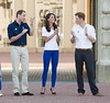 Prince William, Duke of Cambridge and Catherine, Duchess of Cambridge aka Kate Middleton and Prince Harry welcome the Olympic Flame to Buckingham Palace during the Olympic Torch Relay London, England