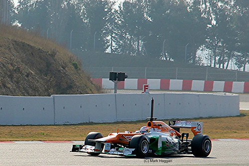 Paul Di Resta in his Force India in Winter Testing, Circuit de Catalunya, March 2012
