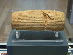The Cyrus Cylinder (front) (marc's pics&photos) Tags: history geotagged ancienthistory ancient middleeast judaism cyrus britishmuseum mesopotamia reallyold neareast ancientpersia cyruscylinder ancientiran ancientmesopotamia ancienthistoryofthemiddleeast ancienthistoryoftheneareast
