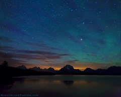 "Teton Aurora (IronRodArt - Royce Bair (""Star Shooter"")) Tags: sunset sky nature night clouds dark stars lights"