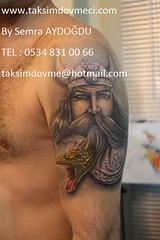 Viking with dragon tattoo / Ejderha dvmesi olan Viking (taksim beyolu dvmeci) Tags: woman art tattoo artist femme models drawings istanbul tattoos taksim examples vrouwen tatouage bayan mannen kiz modle modelleri dovme izimler dovmeciler dovmemodelleri dovmesi