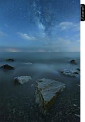 Mezzanine (juandiegojr) Tags: longexposure blue red sea seascape azul clouds landscape mar spain sand agua nikon rocks playa andalucia arena cielo malaga rocas milkyway nikkor1424mmf28 juandiegojr juandiegojrcom nikond800e d800mezzanine