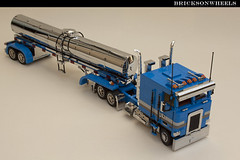 Lego Kenworth K100 classic milk trailer combo (bricksonwheels) Tags: chrome lugnuts kenworth k100 lowlug milktrailer customtrucks bricksonwheels