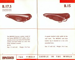 Brooks B17.S and B15 Saddles. (Paris-Roubaix) Tags: english leather bicycle vintage models saddles brooks b17s b15