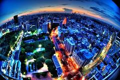 Day 229/366 : Miracle Tokyo (hidesax) Tags: street light sunset sun japan skyline clouds tokyo nikon raw cityscape dusk fisheye nikkor hdr buldings kasuga bunkyoku 5xp nikkor2470mmf28ged hidesax d800e nikond800e day229366miracletokyo