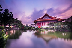 Light Purple Clouds (Sharleen Chao) Tags: longexposure urban color reflection building horizontal canon pond nightshot nopeople nightscene bluehour  concerthall  cksmemorialhall  1635mm  canoneos5dmarkiii
