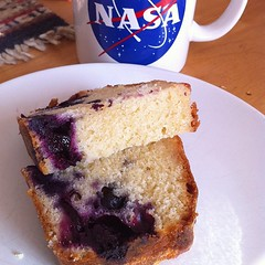Having a cup of tea and some delicious lemon-blueberry poundcake made by @wordridden.