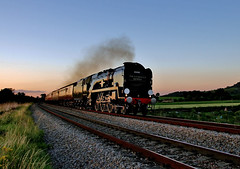 "35028 ""Clan Line"" at Sunset (KPAR UK Photography) Tags: uk trees england sky rural speed train canon landscape countryside colours action engine rail railway loco gloucestershire steam southern 7d locomotive railtour 2012 stonehouse bulleid uksteam 35028 cathedralsexpress merchantnavyclass clanline"