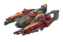 Thrasher (ted @ndes) Tags: red orange dark lego 5 space police fusion bionicle starfighter kranxx