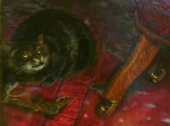 William Holman Hunt, The Awakening Conscience, detail with Cat and Bird