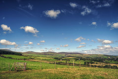Manx Hills (sammie) Tags: summer sky panorama sun mountains clouds rural fence skyscape landscape island countryside solitude walk farm panoramic hills adventure views stunning fields hdr cloudscape isleofman favouriteplace manx snaefell photomatix nikond5000 sammiecainephotography sammie