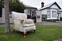 You and who's armchair? (stephen trinder) Tags: old christchurch house grass landscape chair junk seat ripped used sidewalk nz rubbish torn unwanted rotten kiwi armchair kerb aotearoa cushions dumped christchurchnewzealand stephentrinder stephentrinderphotography
