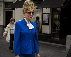 Not For Turning (Leanne Boulton) Tags: people urban street candid portrait portraiture streetphotography candidstreetphotography candidportrait streetlife woman female face facial expression look style stylish fashion colorful colourful bright bold blue red lipstick lips sunglasses beehive hairstyle hair tone texture detail natural outdoor light shade shadow city scene human life living humanity society culture canon 7d wideangle color colour glasgow scotland uk character