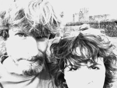 Selfies in Wales -BW (Firery Broome) Tags: selfie caerphillycastle caerphilly wales people portrait olympus olympus2100 photoshop nik viveza colorefexpro blackandwhite blackwhite bw monochrome highcontrast travel worldtravel 2002 greatbritain europe sliderssunday 365