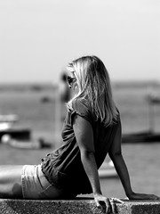On the quay (patrick_milan) Tags: noiretblanc blackandwhite noir blanc monochrome nb bw black white street rue people personne gens streetview fminin femal femme woman women girl fille belle beautiful portrait face candide