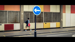 The Wrong Way (Sean Batten) Tags: barbican london england unitedkingdom gb streetphotography street cinematic sign roadsign city urban nikon df 60mm directions