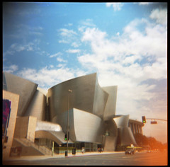 Concert Hall (J.a.n_Photo&Films) Tags: losangeles holgaphoto guggenheimlax gehry concerthall holgacolours kodak400