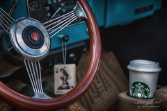Then Meets Now (Linda O'Donnell) Tags: rollingironcarshow allairestatepark steeringwheel starbucks