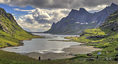 Bunesfjorden (Lanzen) Tags: hdr landscape fjord water village mountains clouds bay tindstad moskenes moskenesøya nordland lofoten norway norge
