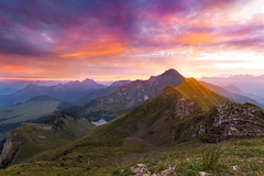 Dream (Emotions-photo.ch) Tags: sky sunrise lake switzerland mountains blue sun light clouds summer beautiful orange green pink mountain alps ormontdessous vaud suisse ch