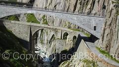 REU240 Devil's Bridges over the Reuss River, Schllenen Gorge, Andermatt, Uri, Switzerland (jag9889) Tags: 2016 20160908 alpine andermatt archbridge bridge bridges brcke ch cantonofuri centralswitzerland crossing devil devilsbridge europe flickr gorge gotthardstrasse helvetia infrastructure innerschweiz kantonuri outdoor pont ponte puente reuss river roadbridge schlucht schweiz schllenen schllenenschlucht stone suisse suiza suizra svizzera swiss switzerland teufel teufelsbrcke uri zentralschweiz jag9889