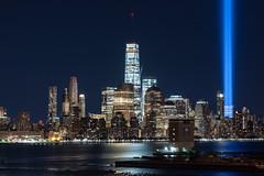 Freedom Above All (sullivan1985) Tags: manhattan manhattanskyline newyorkcity newyork ny worldtradecenter wtc tributeinlight towersoflight september11 911 lowermanhattan hudsonriver night