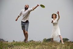Gotcha Not [EXPLORED] (Ktoine) Tags: frisbee candid beard bride wedding fun catching miss field nature friends russia