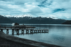 Patagonian Landscape (Fer-B.) Tags: villalaangostura landscape lago mountains muelle lake clouds patagoniaargentina blue paisaje lagosdelsur snow andes tipodefoto beach agua water vacaciones events trees 50mm d610 nikon peaceful paradise beauty lush cloudy park woods mountain serene reflection outdoor sand pebbles argentina patagonia peak sky pier